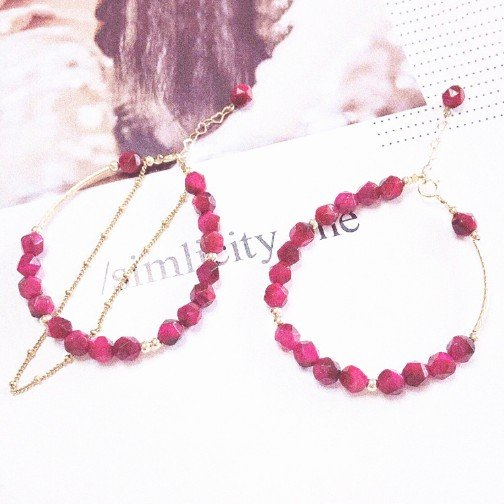 red tiger eye couple bracelets